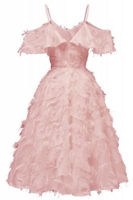 Stylish Spaghetti Straps Artifical Feather Princess Vintage Short Dresses_2