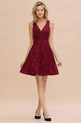 Princess V-neck Knee Length Lace Appliques Homecoming Dresses_17