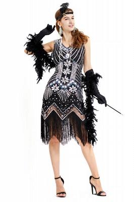V-neck Sleeveless V-Black Short Cocktail Dresses  Burgundy  Emerald Silver Sequined Dress_13