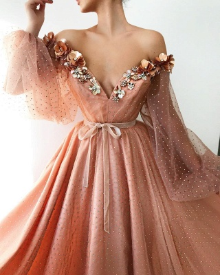 Sexy Off the Shoulder V Neck Long Prom Dress | Chich Tulle Beading Long Sleeves Prom Dress_2