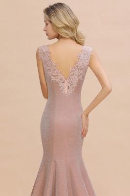 Glittery Deep V-neck Sleeveless Pink Floor-length Long Evening Dresses_7