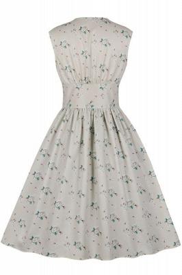 Glorious Jewel Sleeveless A-line Fashion  Dresses | Floral Knee-Length Women's Dress_4