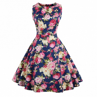 Glorious Jewel Sleeveless A-line Fashion Belted Dresses | Floral Knee-Length Women's Dress_8