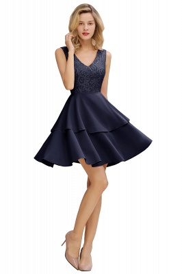Lovely V-neck V-back Knee Length Ruffle Homecoming Dresses_3