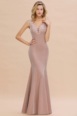 Glittery Deep V-neck Sleeveless Pink Floor-length Long Evening Dresses_9