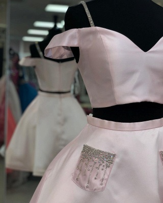 Two Piece Spaghetti Straps Homecoming Dress with Beaded | Stunning Pink Short Dress for Back to School_3