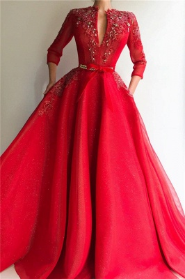Sparkly Sequins Tulle V Neck Red Prom Dress | Charming Jewel 3/4 Sleeves Appliques Long Prom Dress_1
