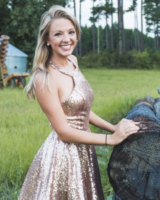 Sparkly A-line Halter Sequins Homecoming Dress | Cheap Stunning Short Dress for Back to School_2