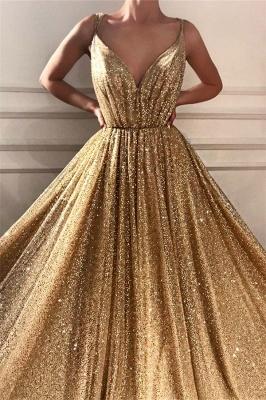 Glamorous Sequins Spaghetti Straps Long Prom Dress   Sparkle V Neck Sleeveless Gold Prom Dress_2