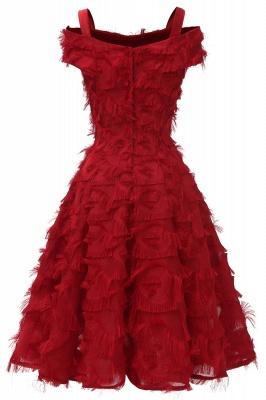 Artificial Fur Cap Sleeve Princess Short Homecoming Dress_12