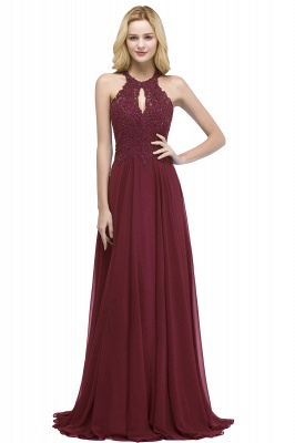 Cheap A-line Keyhole Neckline Halter Long Beading Prom Dress in Stock_2