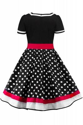 Fascinating A-line Belted Short Sleeve Jewel Polk-Dot Women's Dresses   Knee-Length Fashion Dress_9