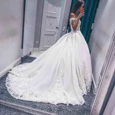 Stunning Off the Shoulder  White Wedding Dress | Fantastic V Neck Lace Long Bridal Dress_3