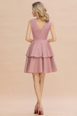 Lovely V-neck V-back Knee Length Ruffle Homecoming Dresses_19