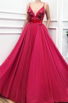 Spaghetti Strap V Neck Crystal A Line Prom Dresses_1