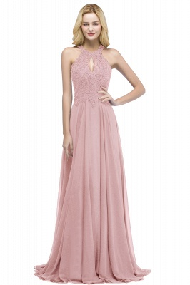Cheap A-line Keyhole Neckline Halter Long Beading Prom Dress in Stock_1