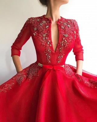 Sparkly Sequins Tulle V Neck Red Prom Dress | Charming Jewel 3/4 Sleeves Appliques Long Prom Dress_2