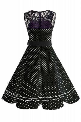 Brilliant Jewel A-line Bow Sleeveless Fashion Belted Dresses | Polk-Dot Knee-Length Women's Dress_7
