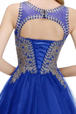 Cute Crew Neck Open Back Beaded Lace Appliques Homecoming Dresses_17