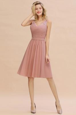 Cheap A-line Chiffon Ruffle Bridesmaid Dress Sleeveless Lace Homecoming Dress in Stock_10
