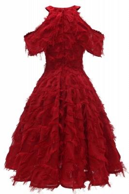 Gorgeous A-line High neck Artifical Feather Vintage Short Dresses_12