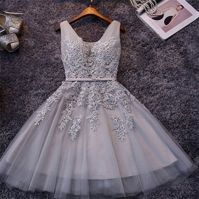 Elegant Silver Homecoming Dresses Lace Beaded  Puffy Hoco Dress_2