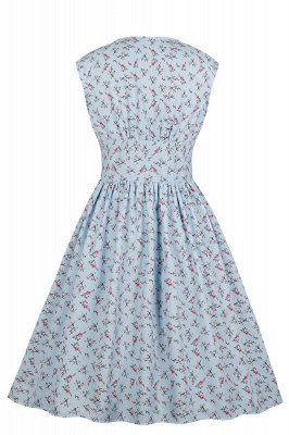 Glorious Jewel Sleeveless A-line Fashion  Dresses | Floral Knee-Length Women's Dress_17