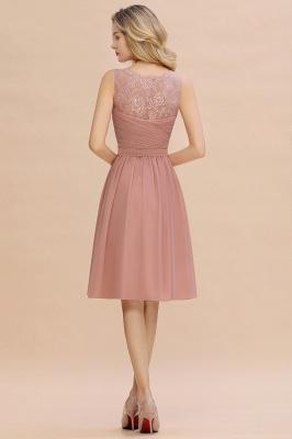 Cheap A-line Chiffon Ruffle Bridesmaid Dress Sleeveless Lace Homecoming Dress in Stock_12