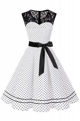 Brilliant Jewel A-line Bow Sleeveless Fashion Belted Dresses | Polk-Dot Knee-Length Women's Dress