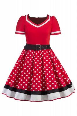 Fascinating A-line Belted Short Sleeve Jewel Polk-Dot Women's Dresses   Knee-Length Fashion Dress_2