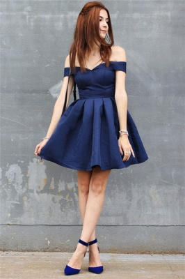 Off-the-shoulder Short Dark-Navy A-line Modest Homecoming Dress_3