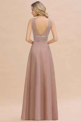 Gorgeous Sleeveless V-back Pink Deep V-neck Long Evening Dresses_11