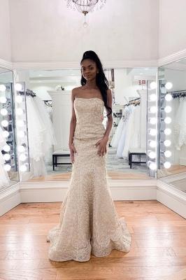 Charming Strapless Beaded Mermaid Wedding Dress | Affordable Sleeveless Long Bridal Dress_1
