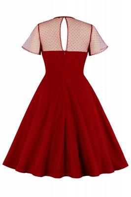 Elegant Round Neck Lace Short Sleeves Fashion Beer Dresses | A-Line Knee-Length Women's Dress_5
