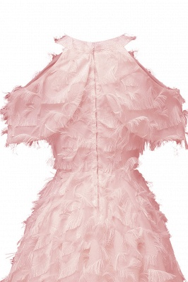Gorgeous A-line High neck Artifical Feather Vintage Short Dresses_10