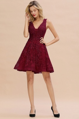 Princess V-neck Knee Length Lace Appliques Homecoming Dresses_18
