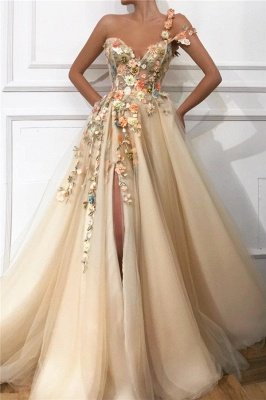 Stylish One Shoulder Strap Tulle Prom Dress | Sexy Sweetheart Front Slit Appliques Flowers Prom Dress_1