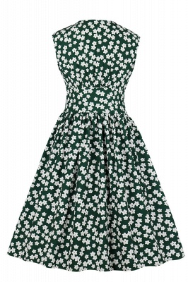 Glorious Jewel Sleeveless A-line Fashion  Dresses | Floral Knee-Length Women's Dress_19
