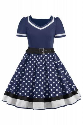 Fascinating A-line Belted Short Sleeve Jewel Polk-Dot Women's Dresses   Knee-Length Fashion Dress_4