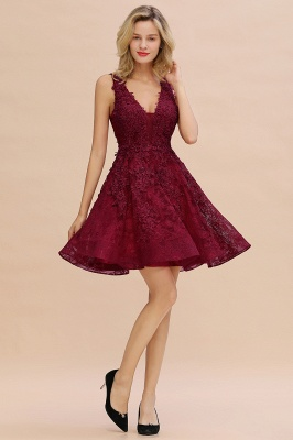 Princess V-neck Knee Length Lace Appliques Homecoming Dresses_19
