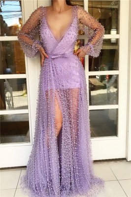 Sexy V Neck Long Sleeves Prom Dress with See Through Skirt | Chic Tulle Pink Long Prom Dress with Pearls_1