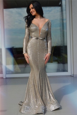 Sparkle Sequins Deep V Neck Prom Dress | Charming Long Sleeves Sash Long Prom Dress_1