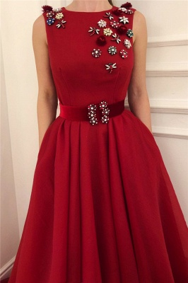 Cute Satin A Line Flowers Red Prom Dress with Dragonfly | Chic Scoop Sleeveless Long Prom Dress with Sash_2