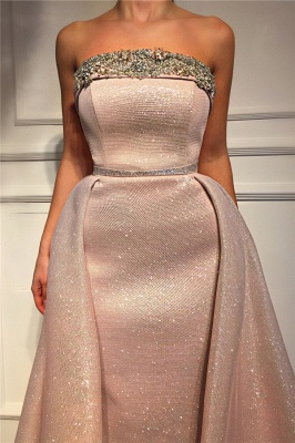 Sparkle Sequins Strapless Pink Prom Dress | Fantastic Sleeveless Beading Long Prom Dress_2