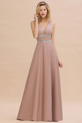 Gorgeous Sleeveless V-back Pink Deep V-neck Long Evening Dresses_7