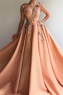 Sparkly Sequins V Neck Sleeveless Prom Dress | Chic Appliques Long Affordable Prom Dress_1