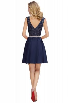 Cute Deep V-neck Knee Length Belt Beaded Short Homecoming Dresses_6