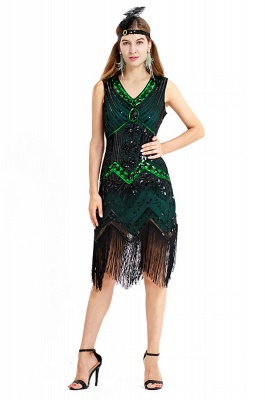 V-neck Sleeveless V-Black Short Cocktail Dresses  Burgundy  Emerald Silver Sequined Dress_2