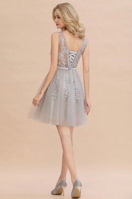 Lovely V-neck Lace-up Short Prom Dresses with Lace Appliques_22