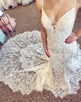 Sexy Lace Mermaid Wedding Dresses | Spaghetti Straps V-neck Lace Bridal Dresses_2